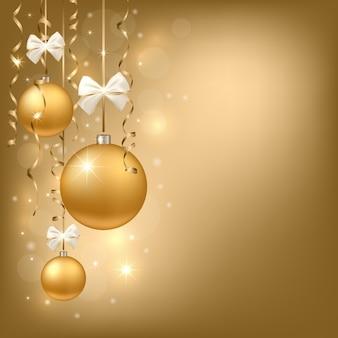 Kerstmisachtergrond met gouden ornamenten