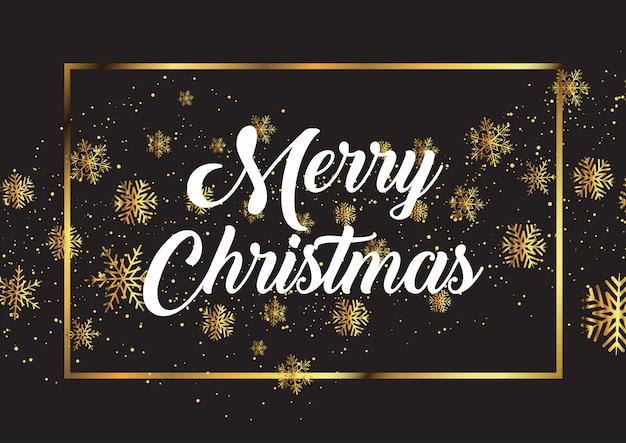 Kerstmisachtergrond met gouden sneeuwvlokken en decoratieve teksten