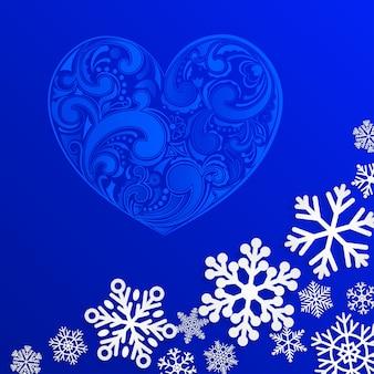 Kerstmisachtergrond met groot hart en sneeuwvlokken op blauwe achtergrond