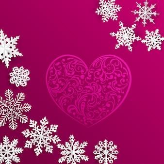 Kerstmisachtergrond met groot hart en sneeuwvlokken op rode achtergrond