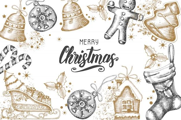 Kerstmisachtergrond met hand getrokken gouden krabbel