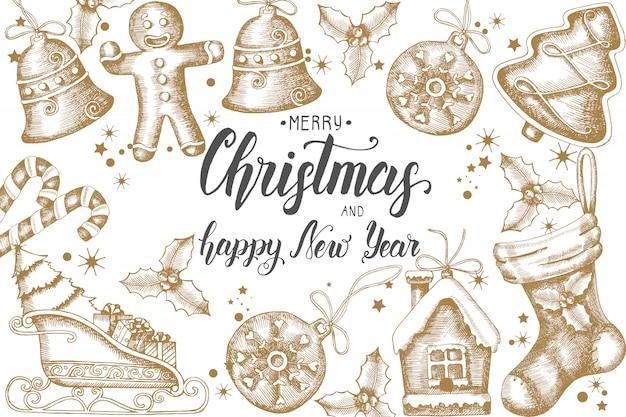 Kerstmisachtergrond met hand getrokken gouden krabbelhulst, klokken, peperkoek, slee en kerstmissok. hand gemaakt citaat