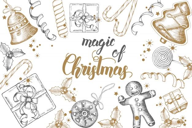 Kerstmisachtergrond met hand getrokken gouden krabbelhulst, klokken, peperkoek, slee en kerstmissok