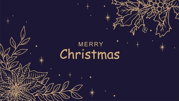 Kerstmisachtergrond met hand getrokken hulstbladeren a