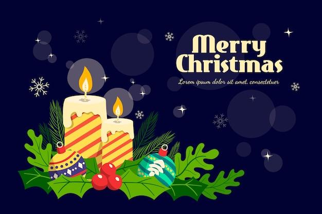 Kerstmisachtergrond met hand getrokken kaarsen
