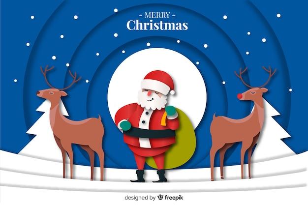 Kerstmisachtergrond met herten en santa