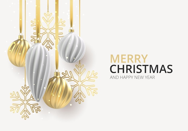 Kerstmisachtergrond met kerstboomspeelgoed van wit en goud, een spiraalvormige ballen en sneeuwvlokken op witte horizontale achtergrond, met de inscriptie kerstmis.