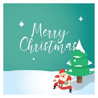 Kerstmisachtergrond met kerstman dansen