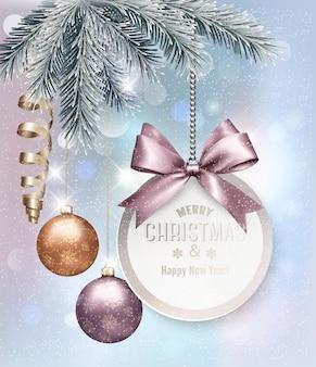 Kerstmisachtergrond met kleurrijke ballen en giftcard. vector illustratie.