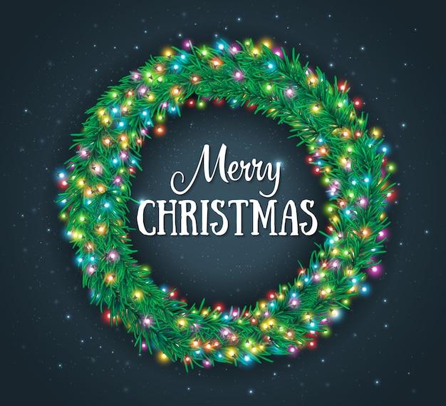 Kerstmisachtergrond met kroon en kleurrijke gloeiende slingers van lichten