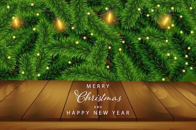 Kerstmisachtergrond met licht en houten pijnboomblad