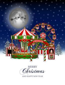 Kerstmisachtergrond met lunapark van kermiskerstmis