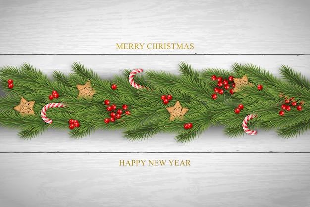 Kerstmisachtergrond met pijnboomtakken en bessen