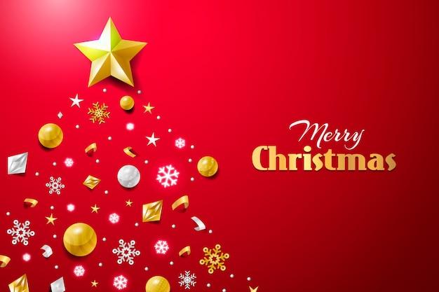 Kerstmisachtergrond met realistische decoratie