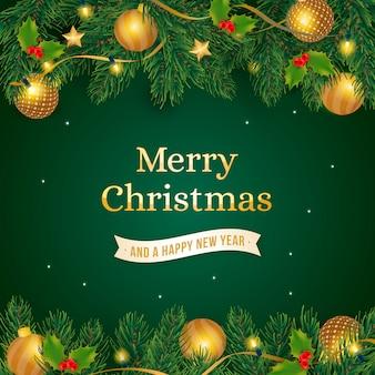 Kerstmisachtergrond met realistische gouden decoratie