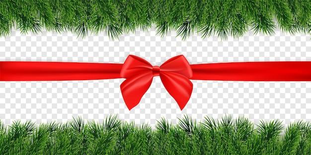 Kerstmisachtergrond met rode boog en spartakjesslinger. vector illustratie.