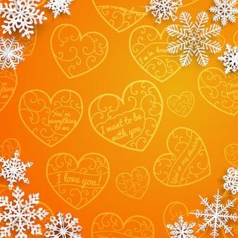 Kerstmisachtergrond met sneeuwvlokken op achtergrond van harten in oranje kleuren