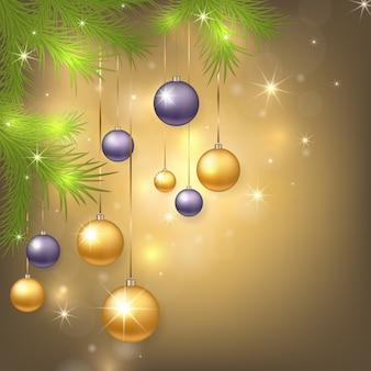 Kerstmisachtergrond met snuisterijen en boom