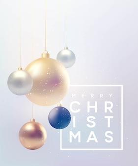 Kerstmisachtergrond met snuisterijen en plaats voor tekst. vectorillustratie eps10