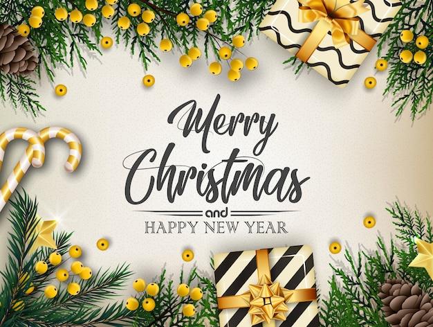 Kerstmisachtergrond met sparrentakken en decoratie