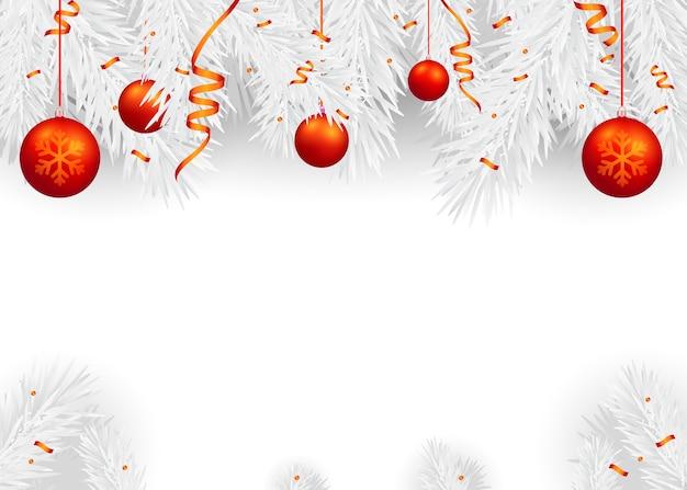Kerstmisachtergrond met spartakken en rode ballen