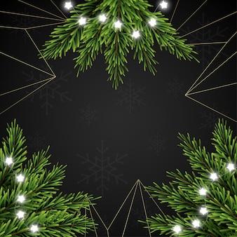 Kerstmisachtergrond met spartakken op donkere achtergrond