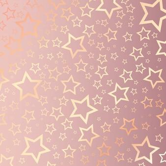 Kerstmisachtergrond met sterrig patroon op roze goud