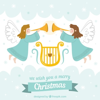 Kerstmisachtergrond met twee engelen die muziek spelen