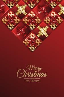 Kerstmisachtergrond met vector van de giften de vrolijke kerstkaart