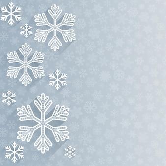 Kerstmisachtergrond met verscheidene sneeuwvlokken op achtergrond van kleine sneeuwvlokken