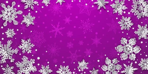 Kerstmisachtergrond met volumedocument sneeuwvlokken met zachte schaduwen op purpere achtergrond