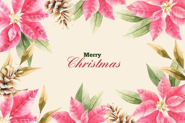 Kerstmisachtergrond met waterverfbloemen
