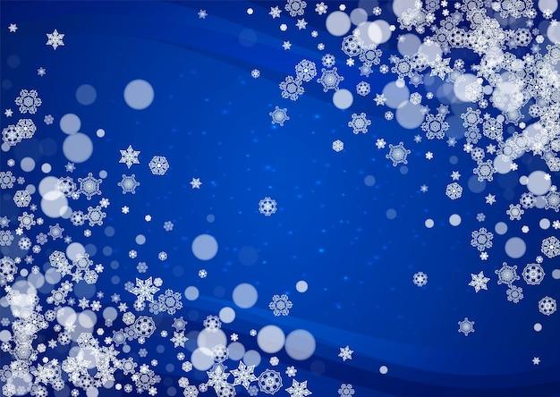 Kerstmisachtergrond met witte sneeuwvlokken en fonkelingen. winterverkoop, nieuwjaar en kerstachtergrond voor feestuitnodiging, banner, cadeaubon, winkelaanbieding. vallende sneeuw. horizontale winterdecor