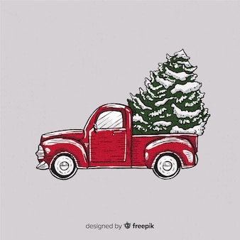 Kerstmisachtergrond van de boombestellingsvrachtwagen