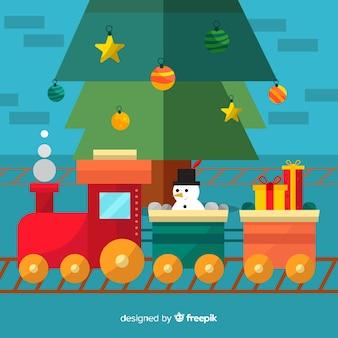 Kerstmisachtergrond van de trein