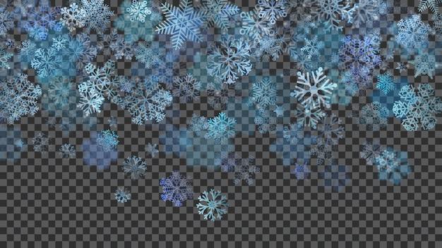 Kerstmisachtergrond van doorschijnend vallende sneeuwvlokken in lichtblauwe kleuren op transparante achtergrond. transparantie alleen in vectorbestand