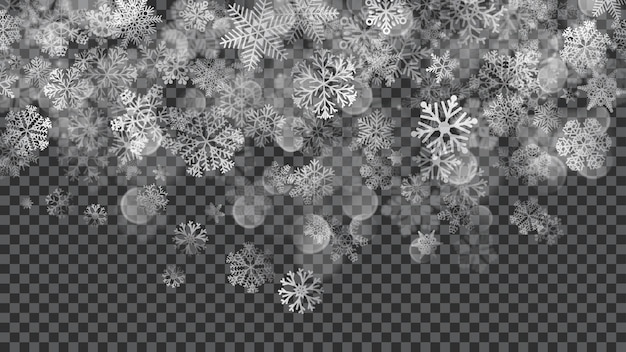 Kerstmisachtergrond van doorschijnend vallende sneeuwvlokken in witte kleuren op transparante achtergrond. transparantie alleen in vectorbestand