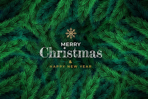Kerstmisachtergrond van groene tak van pijnboom