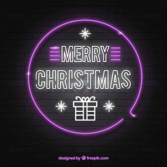 Kerstmisachtergrond van het neon in roze en wit