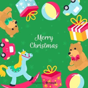 Kerstmisachtergrond van het speelgoedkader