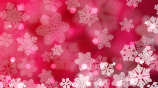 Kerstmisachtergrond van intreepupil sneeuwvlokken met blikken en bokeh-effect, in karmozijnrode kleuren