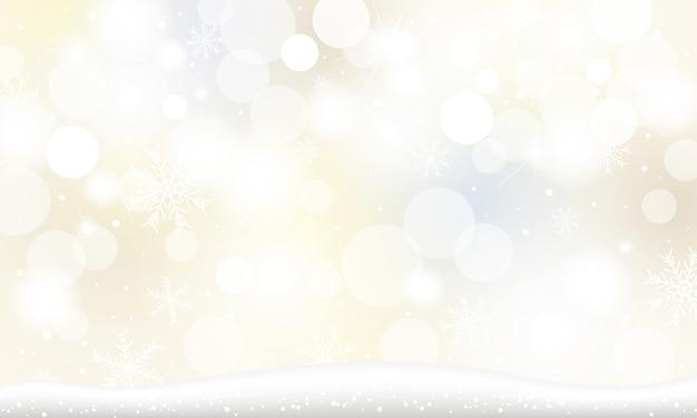 Kerstmisachtergrond van sneeuwvlok en sneeuw die met bokehlichten vallen in de winter