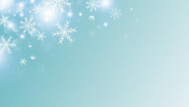 Kerstmisachtergrond van witte sneeuwvlok en sneeuw