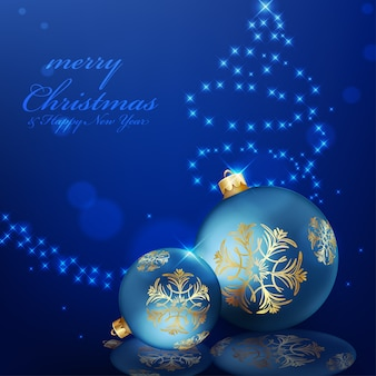 Kerstmisbal op blauwe achtergrond