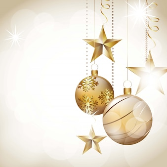 Kerstmisballen op abstracte witte lichten vectorillustratie als achtergrond