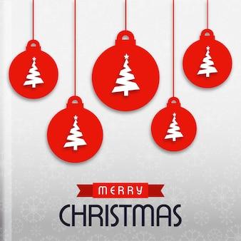Kerstmisbanner die grijze achtergrond met de ballen van rode kleurenkerstmis hebben die witte kleuren kerstmis met eenvoudige typografie hebben