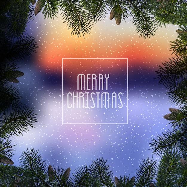 Kerstmisblauw met kerstboomtakken en sneeuw