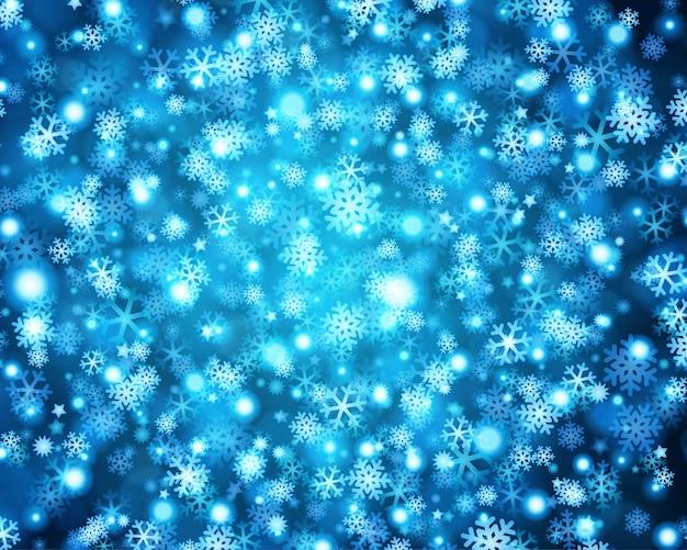 Kerstmisblauw schittert lichten van heldere gloedsneeuwvlokken en illustratie