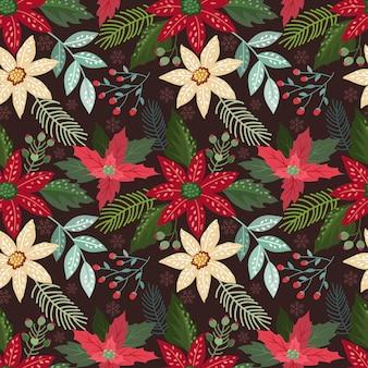 Kerstmisbloemen en blad op donkerrood naadloos patroon als achtergrond.