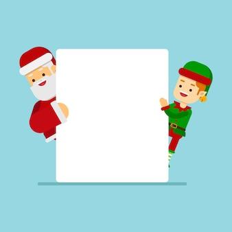 Kerstmisconcept, kerstmiskarakters die banner houden